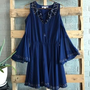Boston Proper Blue Beaded Cut Out Shoulder Dress